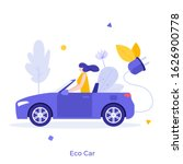 woman driving electric car.... | Shutterstock .eps vector #1626900778