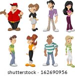 group of cute happy cartoon... | Shutterstock .eps vector #162690956