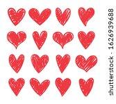 vector set of hand drawn hearts ... | Shutterstock .eps vector #1626939688