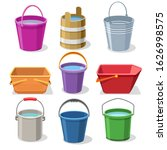 buckets and pails. steel and... | Shutterstock .eps vector #1626998575