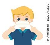 a cute boy wear medical mask.... | Shutterstock .eps vector #1627091692