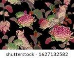tropical seamless floral... | Shutterstock . vector #1627132582