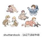 Set With Newborns In Vintage...