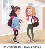 two teenage girls talking in... | Shutterstock .eps vector #1627193488