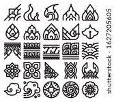 thai art line pattern icon set. ... | Shutterstock .eps vector #1627205605