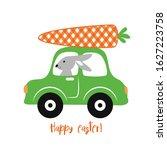 bunny  car and buffalo plaid... | Shutterstock .eps vector #1627223758