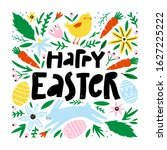 happy easter greeting card with ... | Shutterstock .eps vector #1627225222