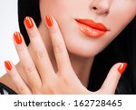closeup female hand with... | Shutterstock . vector #162728465