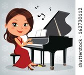 Christmas Piano Recital. Vecto...