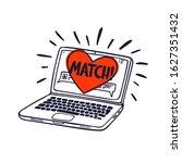 Online Dating Concept. Laptop...
