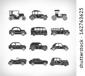 classic cars  vintage car icons | Shutterstock .eps vector #162763625