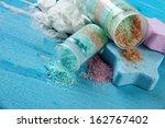 aromatic salts in glass bottles ... | Shutterstock . vector #162767402