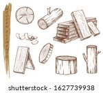 isolated sketch of wooden... | Shutterstock .eps vector #1627739938