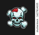 skull with open brain and cross ... | Shutterstock .eps vector #1627814035
