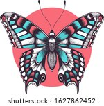 beautiful butterfly tattoo.... | Shutterstock . vector #1627862452