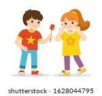 boy giving a rose to a girl.... | Shutterstock .eps vector #1628044795