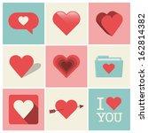 heart icons set  ideal for... | Shutterstock .eps vector #162814382