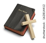 Worn Bible With Wooden Cross...