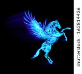 Raster version. Blue fire Pegasus rearing up. Illustration on black background - stock photo