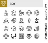 boy simple icons set. contains... | Shutterstock .eps vector #1628149495