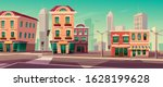 city street with houses  road...   Shutterstock .eps vector #1628199628