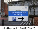 Small photo of Manchester, England, UK. January 12, 2020. The parking sign at the Royal Infirmary entrance near the city centre.
