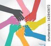teamwork  colorful hands | Shutterstock .eps vector #162843872