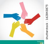 teamwork  colorful hands | Shutterstock .eps vector #162843875