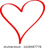red heart   outline drawing for ... | Shutterstock .eps vector #1628487778