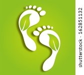 paper foot prints with green... | Shutterstock . vector #162851132