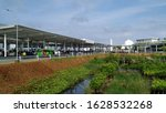 Small photo of Semarang, Indonesia - January 25th 2020 : The Front of Ahmad Yani Airport Drop off