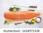 Fresh Raw Salmon Or Trout Sea...