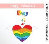 rainbow paper cut heart with... | Shutterstock .eps vector #1628579875