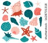 big set of various sea shells... | Shutterstock .eps vector #1628731318