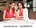 beautiful woman showing her... | Shutterstock . vector #162886025