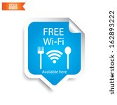Vector: Free wifi  restaurant sticker with blue color. Eps10.