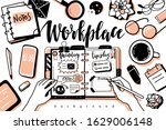doodle outline style workplace...   Shutterstock .eps vector #1629006148