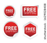free shipping red label sticker | Shutterstock .eps vector #1629028408