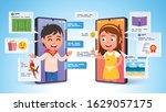 two kids characters talking ... | Shutterstock .eps vector #1629057175