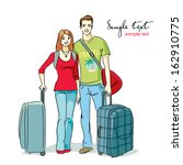 couple of travellers | Shutterstock .eps vector #162910775