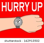 hand with modern watch  hurry... | Shutterstock .eps vector #162913502