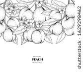 Vector Frame With Peach. Hand...