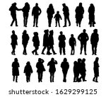men and women in winter clothes ... | Shutterstock . vector #1629299125