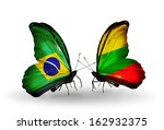 two butterflies with flags on... | Shutterstock . vector #162932375