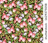 seamless pattern with  leaves ... | Shutterstock . vector #1629375058