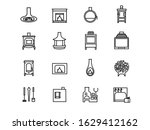set line icons of fireplaces... | Shutterstock .eps vector #1629412162