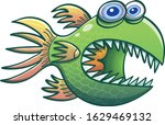 scary fish with blue bulging... | Shutterstock .eps vector #1629469132