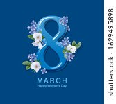 happy women's day floral... | Shutterstock .eps vector #1629495898