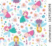 vector seamless childish... | Shutterstock .eps vector #1629518098