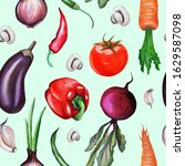 pattern. vegetables hand drawn... | Shutterstock . vector #1629587098